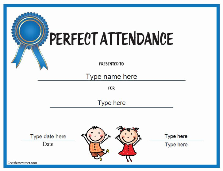 Template for Perfect attendance Certificate Fresh Education Certificates Perfect attendance