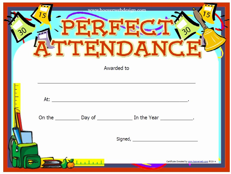 Template for Perfect attendance Certificate Luxury 13 Free Sample Perfect attendance Certificate Templates