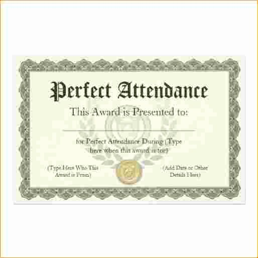 Template for Perfect attendance Certificate New 5 Perfect attendance Certificate