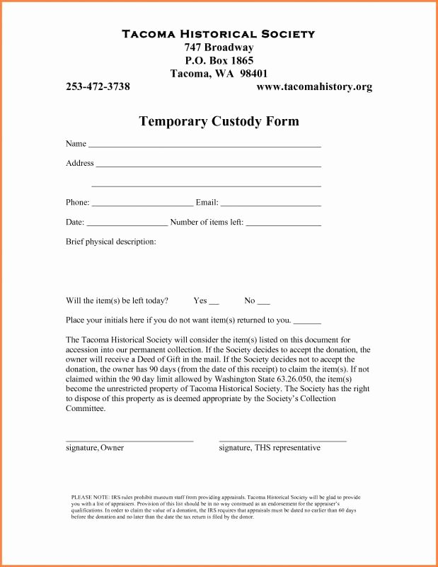 Temporary Custody Agreement Fresh Temporary Custody Agreement