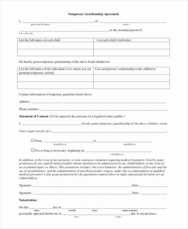 Temporary Custody Agreement Lovely 10 Sample Temporary Guardianship forms Pdf