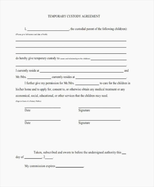 Temporary Custody Agreement Lovely top Agile Indiana Printable Guardianship Papers