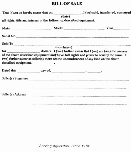 Tennessee Bill Of Sale for Trailer Elegant Free Printable Tractor Bill Of Sale form Generic
