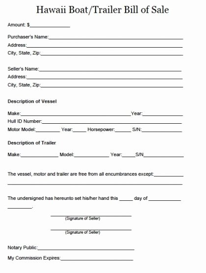 Tennessee Bill Of Sale for Trailer Fresh Printable Sample Boat Bill Sale form