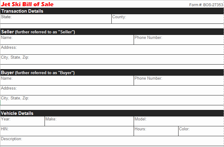 Tennessee Bill Of Sale for Trailer Luxury Jet Ski Bill Of Sale Free Pdf Templates Selling Docs