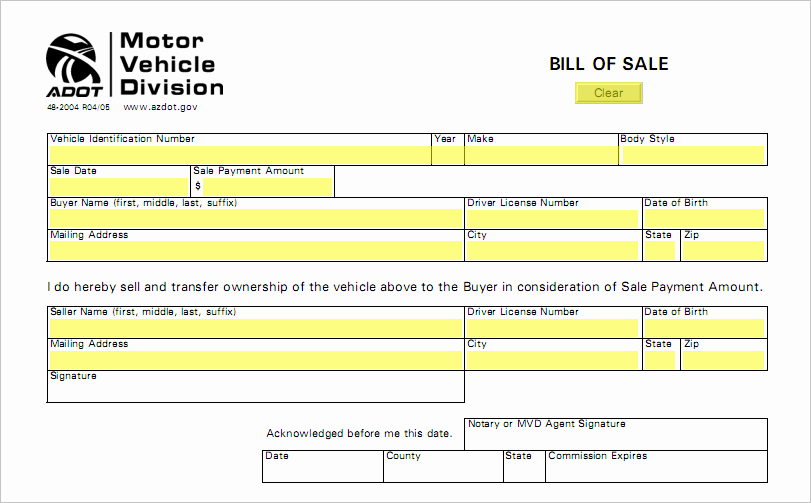 Tennessee Bill Of Sale for Trailer Unique Arizona Bill Sale form