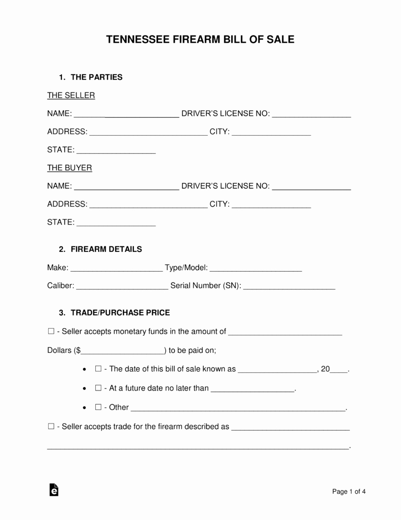 Tennessee Bill Of Sale for Trailer Unique Free Tennessee Firearm Bill Of Sale Word Pdf
