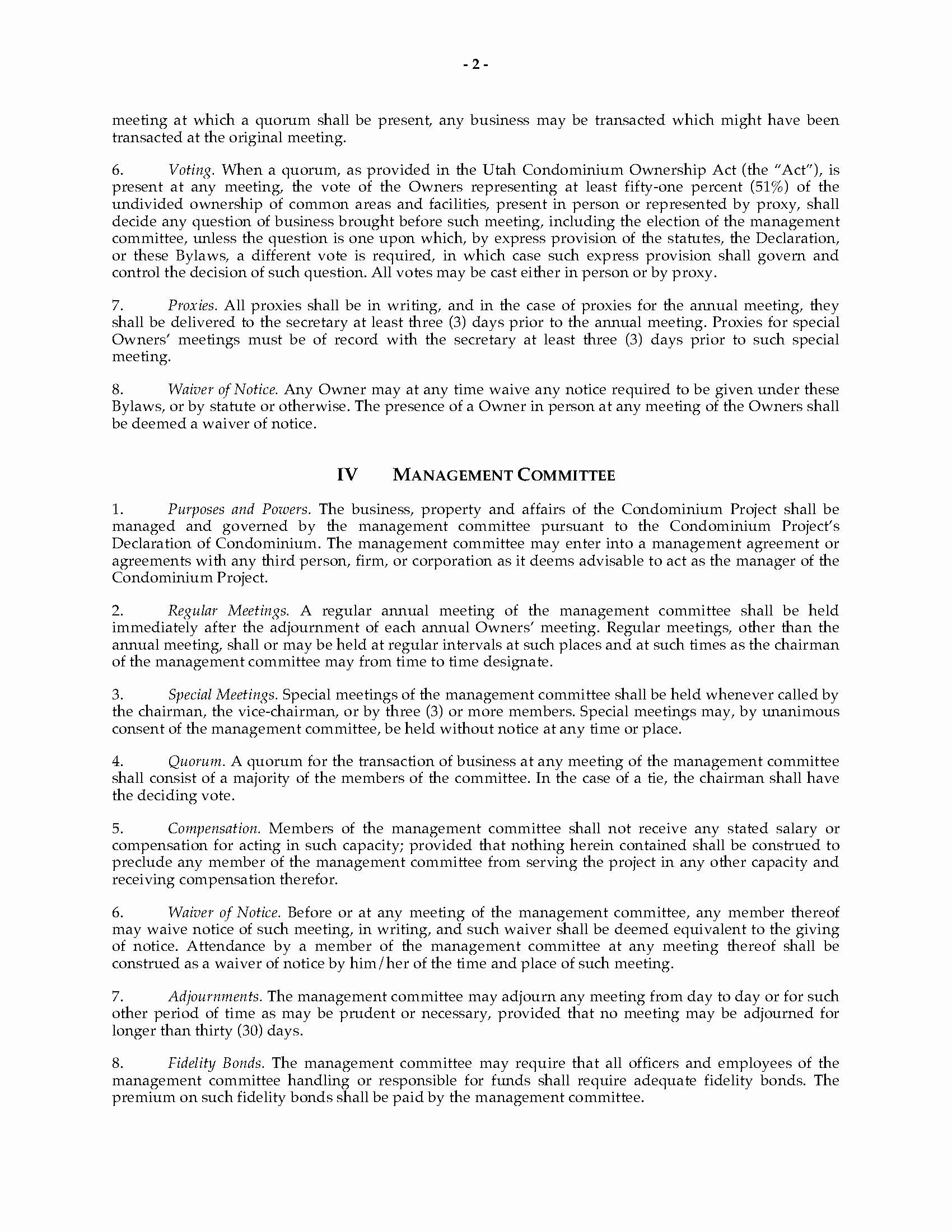 Texas bylaws Template Best Of Utah Condominium bylaws and Rules