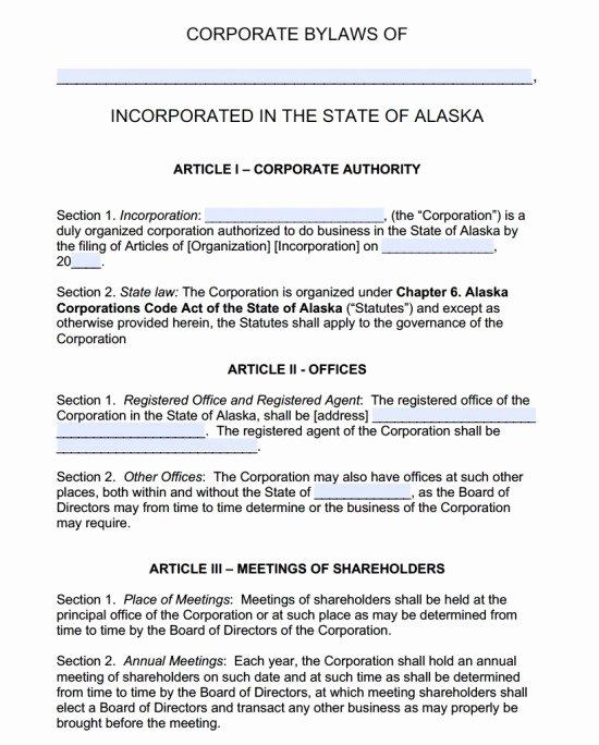 Texas bylaws Template Elegant Free Alaska Corporate bylaws Template Pdf