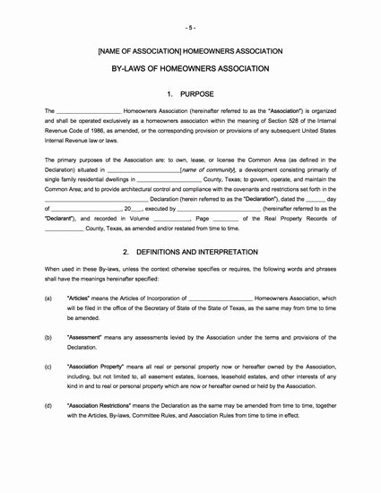 Texas bylaws Template Elegant Texas Homeowners association bylaws