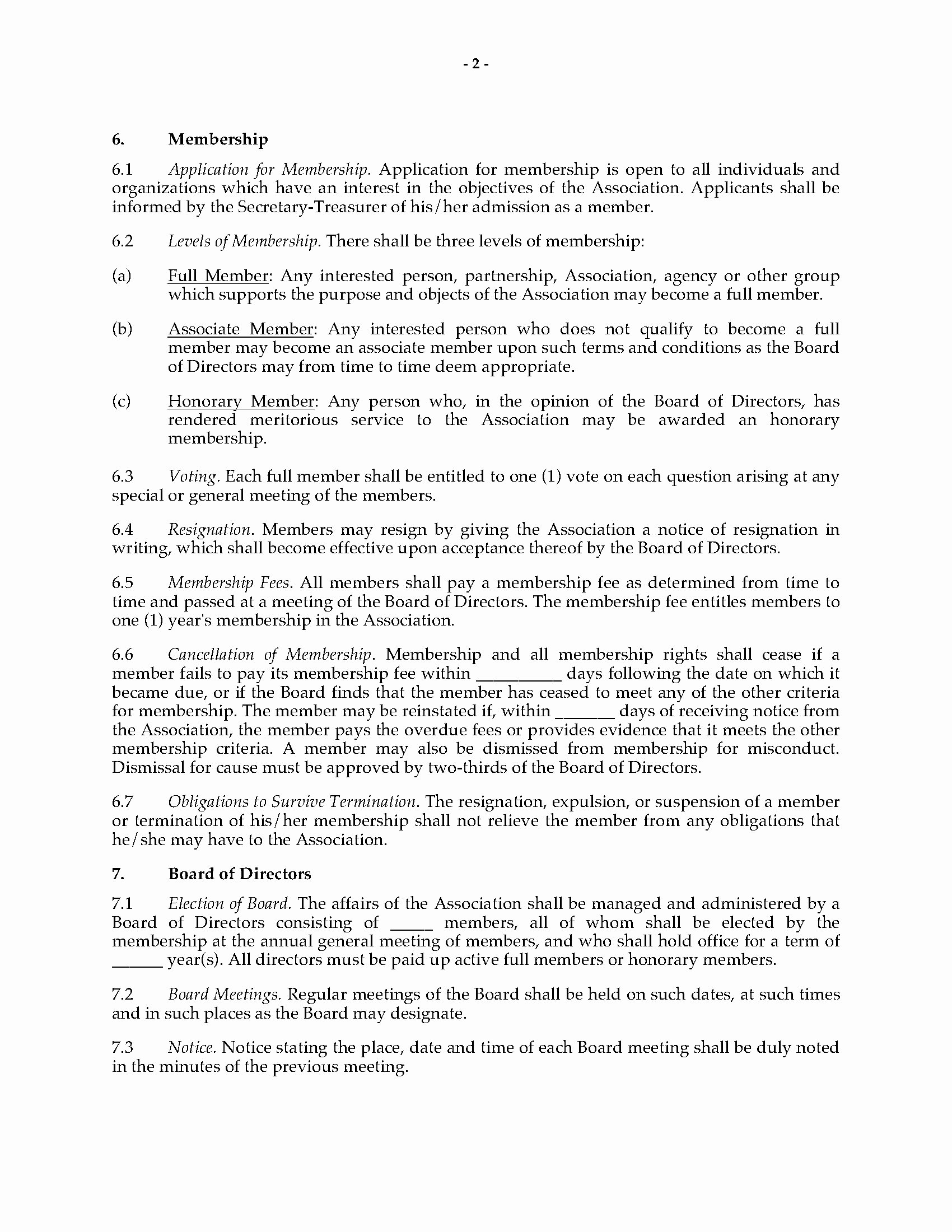 Texas bylaws Template Fresh Tario bylaws Of Non Profit Corporation