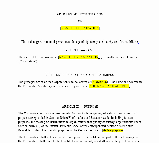 Texas bylaws Template Lovely Nonprofit Articles Of Incorporation
