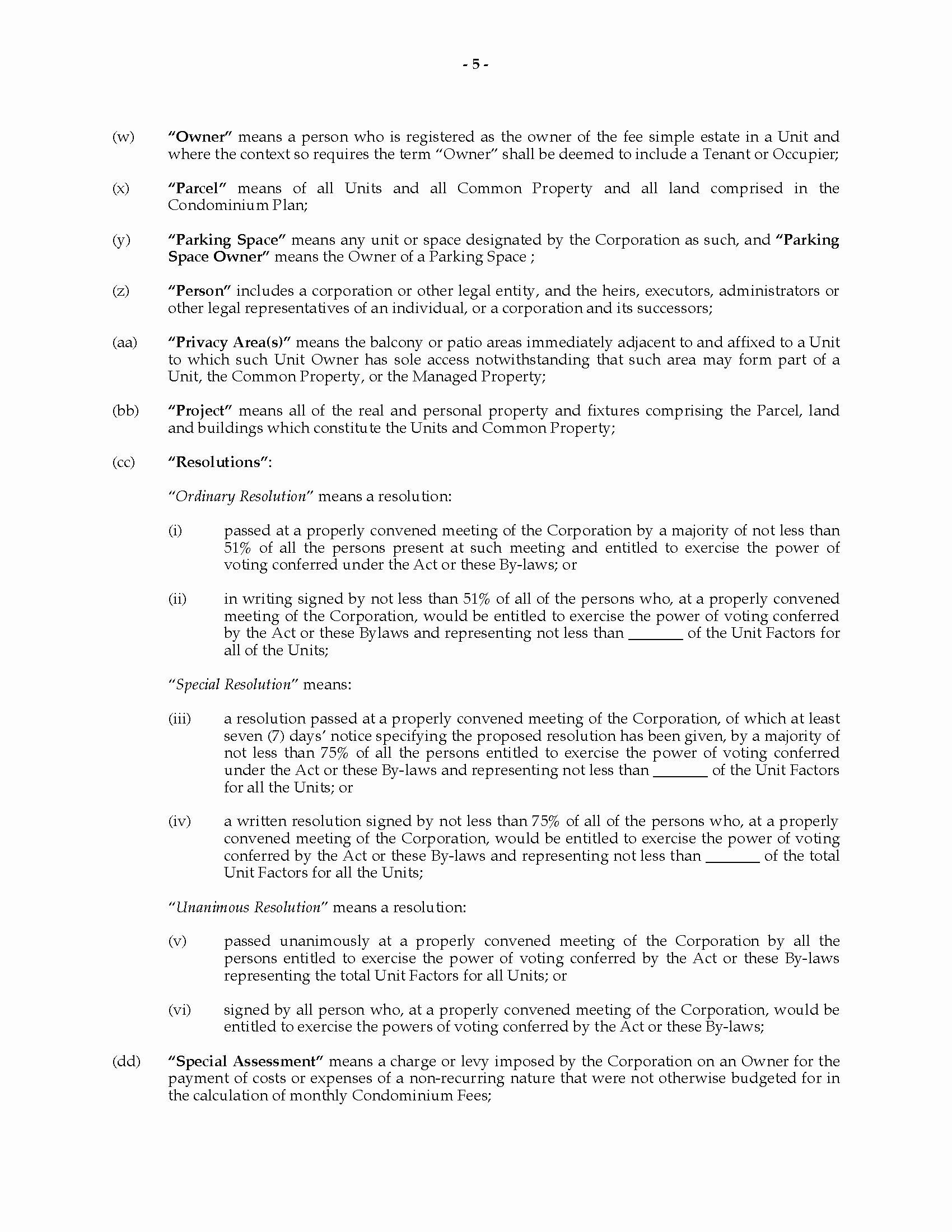 Texas bylaws Template New Alberta Bare Land Condominium bylaws