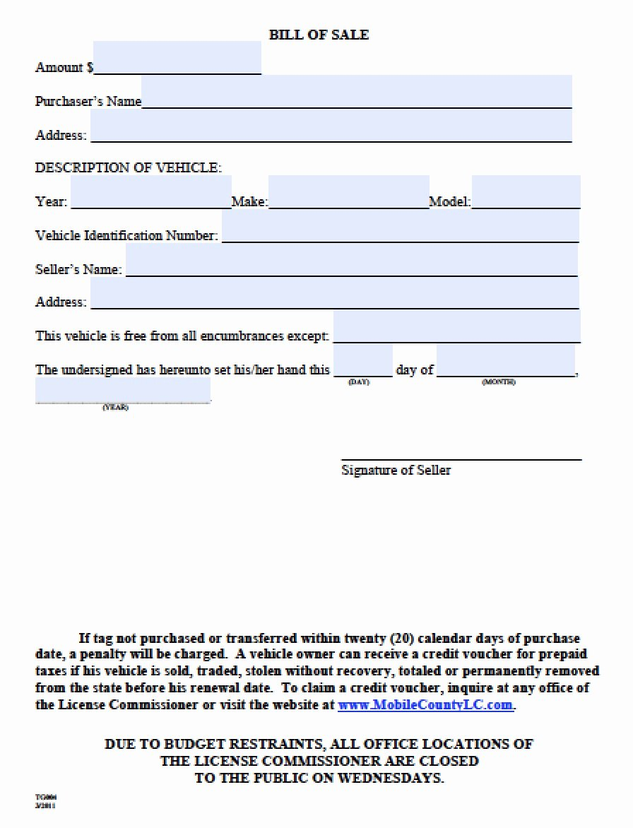 Texas Trailer Bill Of Sale Fresh Free Mobile County Alabama Bill Of Sale form Pdf