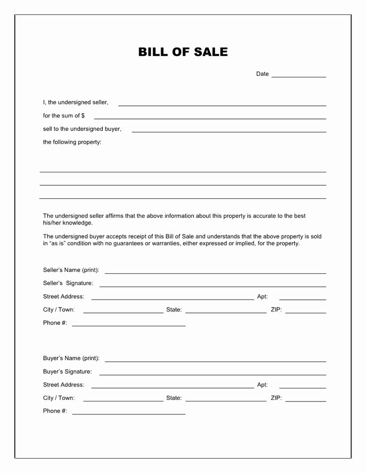 Texas Trailer Bill Of Sale Fresh Free Printable Blank Bill Of Sale form Template as is