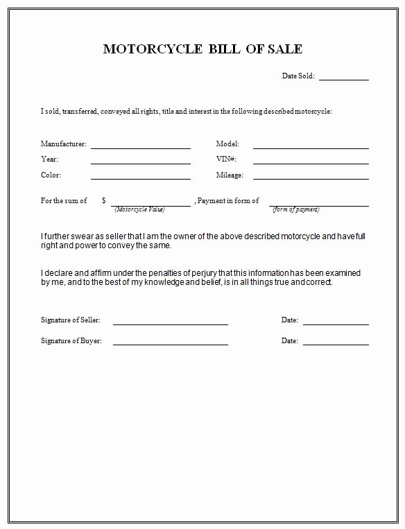 Texas Trailer Bill Of Sale New Free Printable Motorcycle Bill Of Sale form Generic