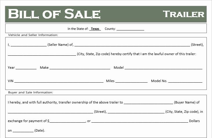 Texas Trailer Bill Of Sale New Free Texas Trailer Bill Of Sale Template F Road Freedom