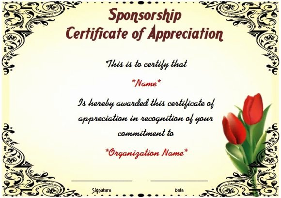Thank You for Sponsoring event Beautiful Certificate Of Appreciation for Sponsorship