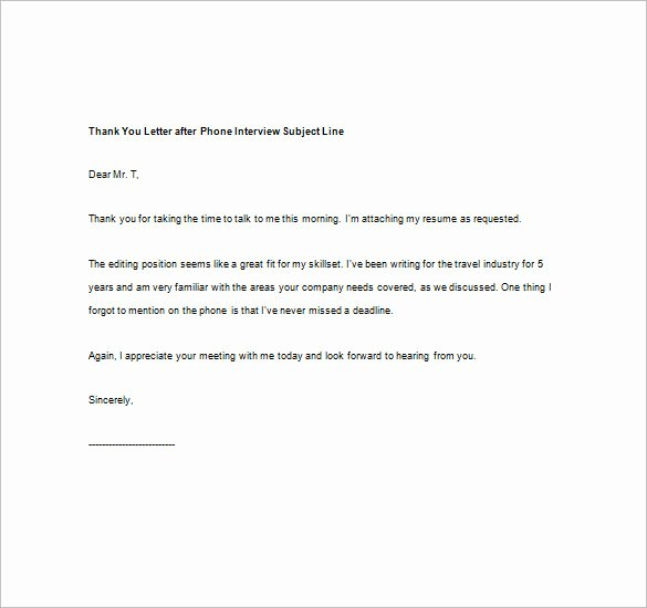 Thank You Interview Email Subject Line Best Of 8 Thank You Note after Phone Interview – Free Sample