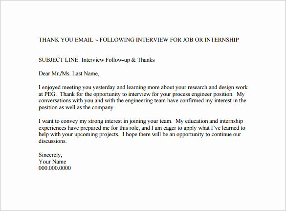 Thank You Interview Email Subject Line New 14 Thank You Email after Interview Doc Excel Pdf