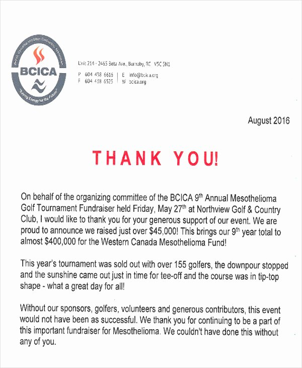 Thank You Letter for Sponsorship Of event Best Of 7 Sample Fund Raiser Thank You Letter Free Sample