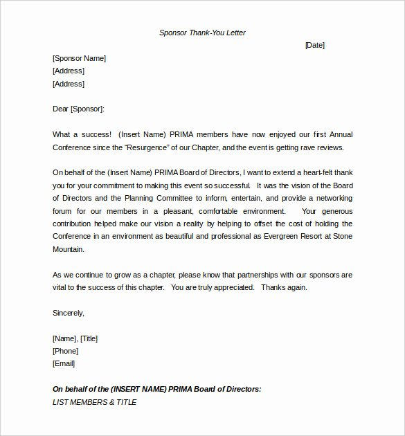 Thank You Letter for Sponsorship Of event Elegant Sponsorship Letter Template – 8 Free Word Pdf Documents