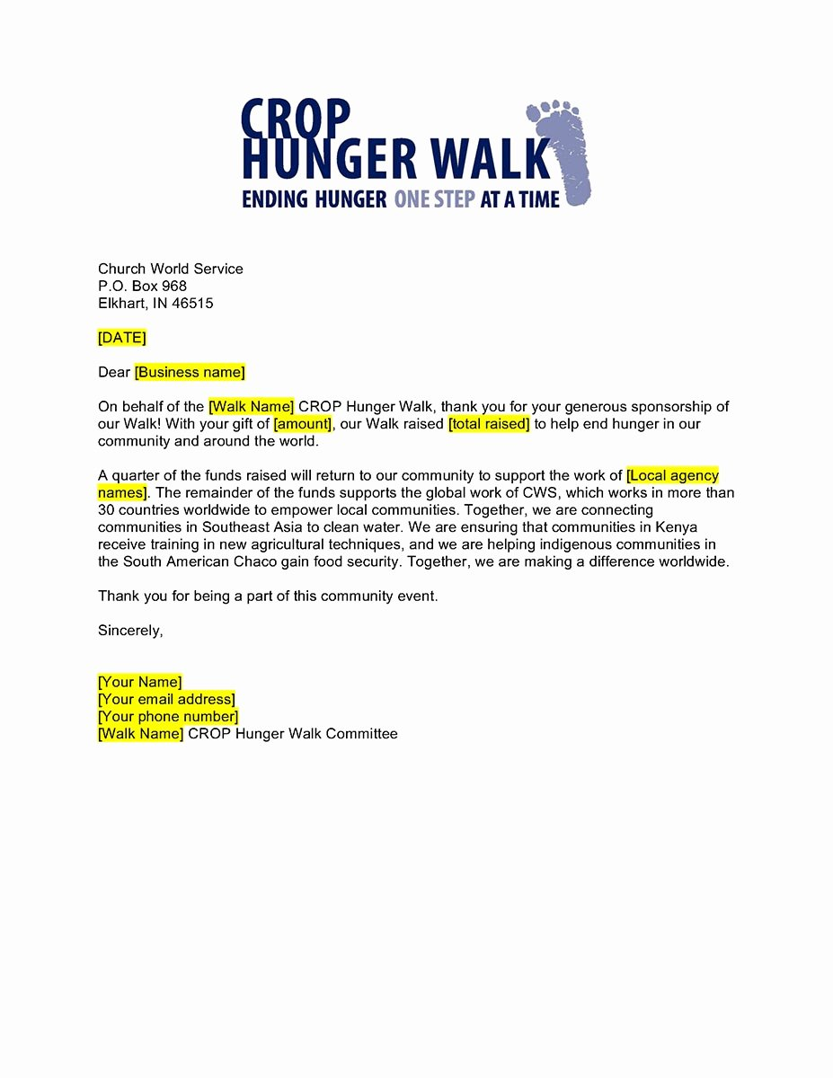 Thank You Letter for Sponsorship Of event Fresh Business Sponsorship Thank You Letter Crop Hunger Walk