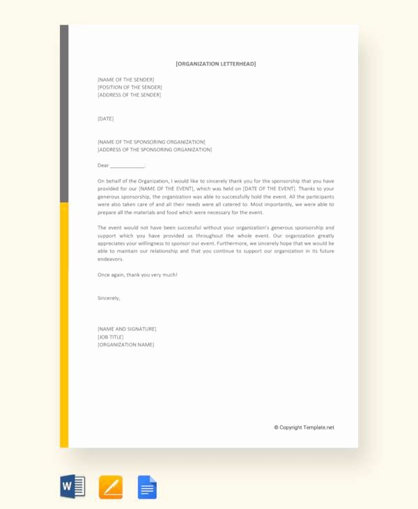 Thank You Letter for Sponsorship Of event Inspirational 29 Sample Sponsor Thank You Letters Pdf Word