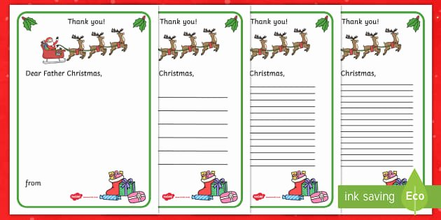 Thank You Letter to Dad Best Of Thank You Letter to Father Christmas Writing Template Thank