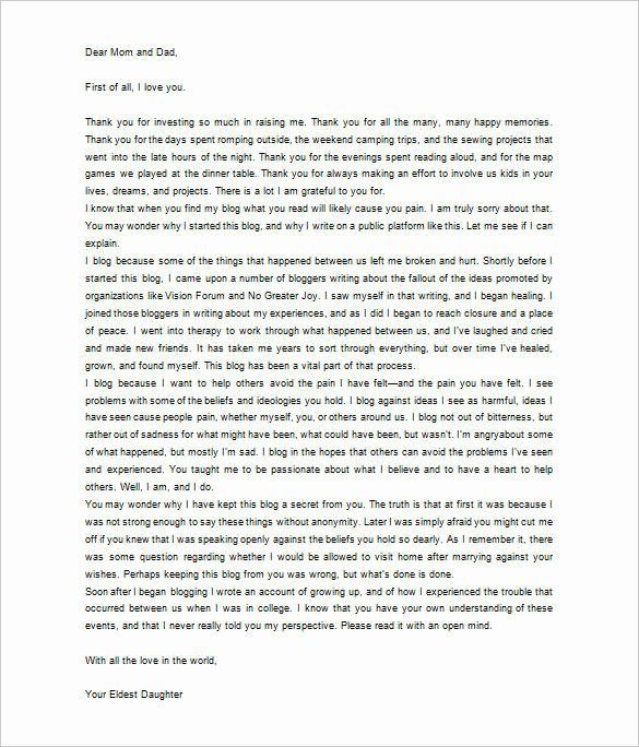 Thank You Letter to Dad New 6 Thank You Letter to Parents Pdf Doc