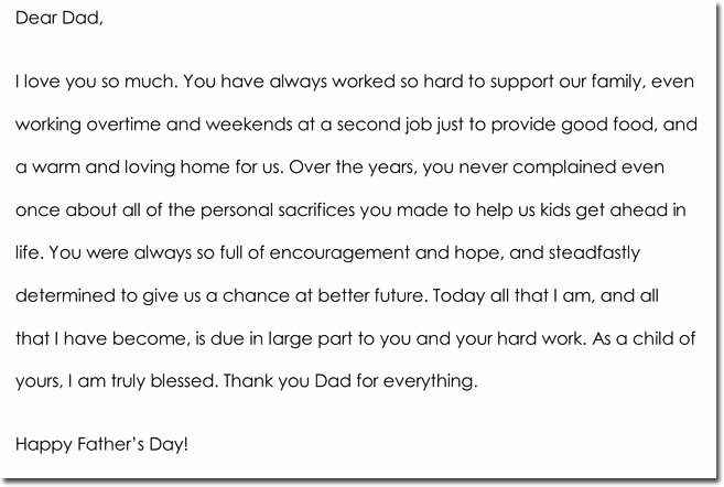 Thank You Letter to Dad New Father's Day Thank You Note Examples & Wording Ideas