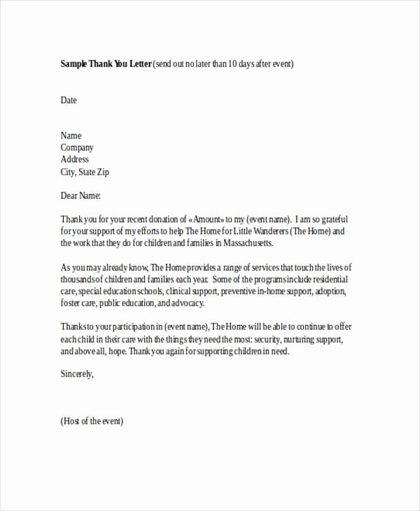 Thank You Letter to Sponsors Of An event Lovely Free 74 Thank You Letter Examples In Doc Pdf