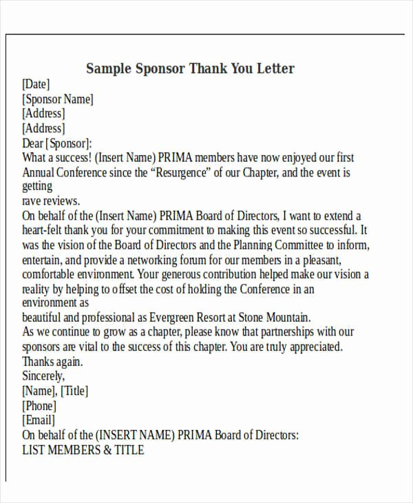 Thank You Letter to Sponsors Of An event Lovely Thank You Letter format