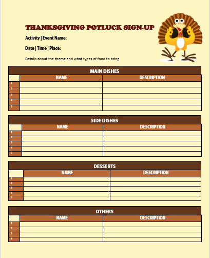 Thanksgiving Potluck Signup Sheet Beautiful 29 Of Thanksgiving Potluck Sign Up Sheet Template