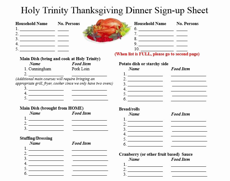 Thanksgiving Potluck Signup Sheet Inspirational Free Sign Up Sheet Template Excel and Word Excel Tmp
