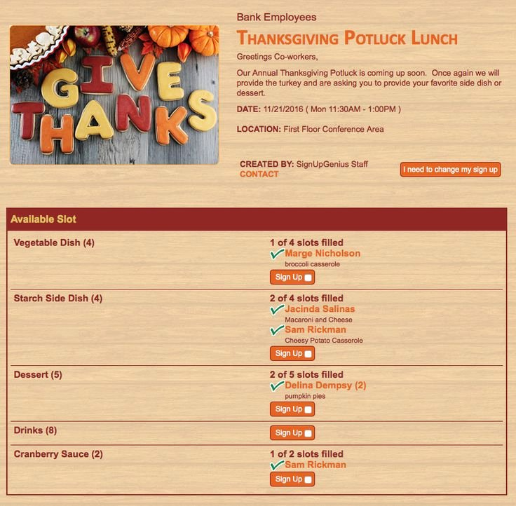 Thanksgiving Potluck Signup Sheet Inspirational Give Thanks This Thanksgiving with An Online Sign Up for