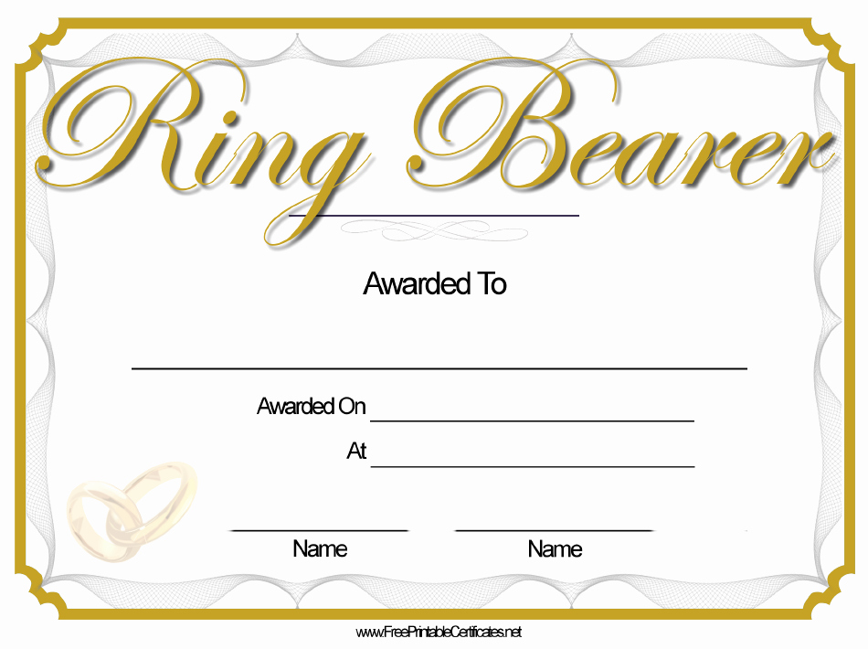 The Bearer Of This Certificate is Entitled to Template Fresh Ring Bearer Certificate Template Printable Pdf