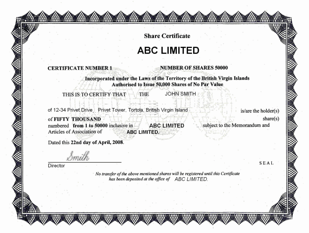 The Bearer Of This Certificate is Entitled to Template Inspirational Bvi Ibc