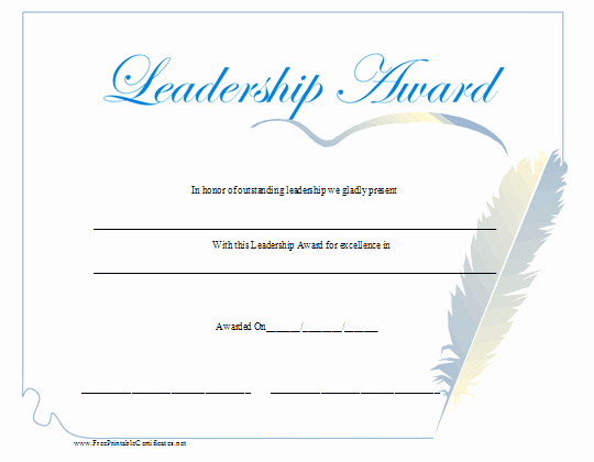 The Bearer Of This Certificate is Entitled to Template Lovely A Leadership Award with A Blue Script Title and A Feather
