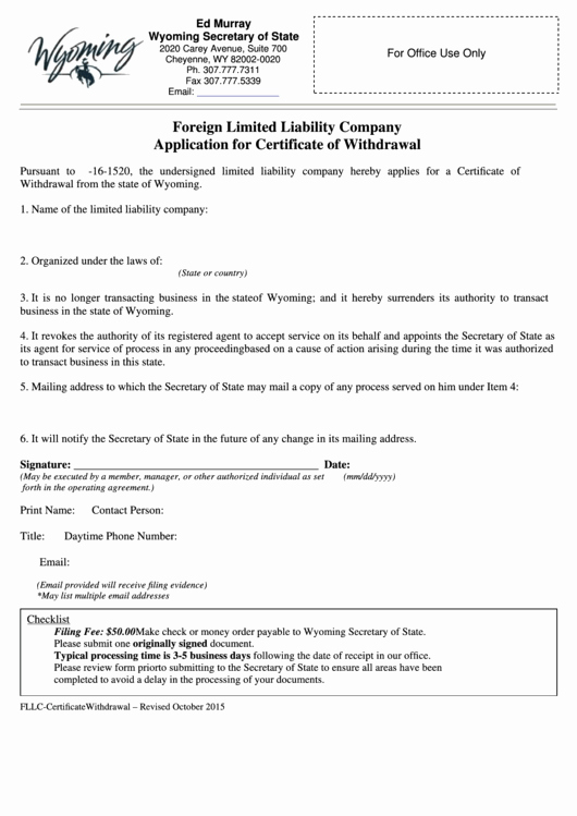 The Request Contains No Certificate Template Information Elegant Fillable form foreign Limited Liability Pany