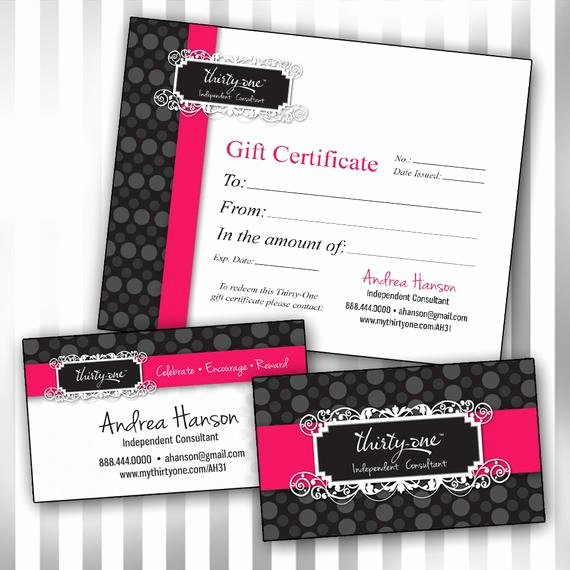 Thirty One Gift Certificate Template New Items Similar to Bo Custom Thirty E Double Sided