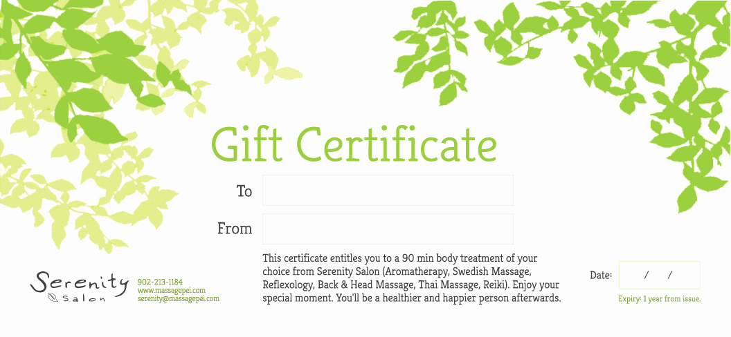 This Certificate Entitles the Bearer Beautiful Buy A Gift Certificate – Serenity Salon