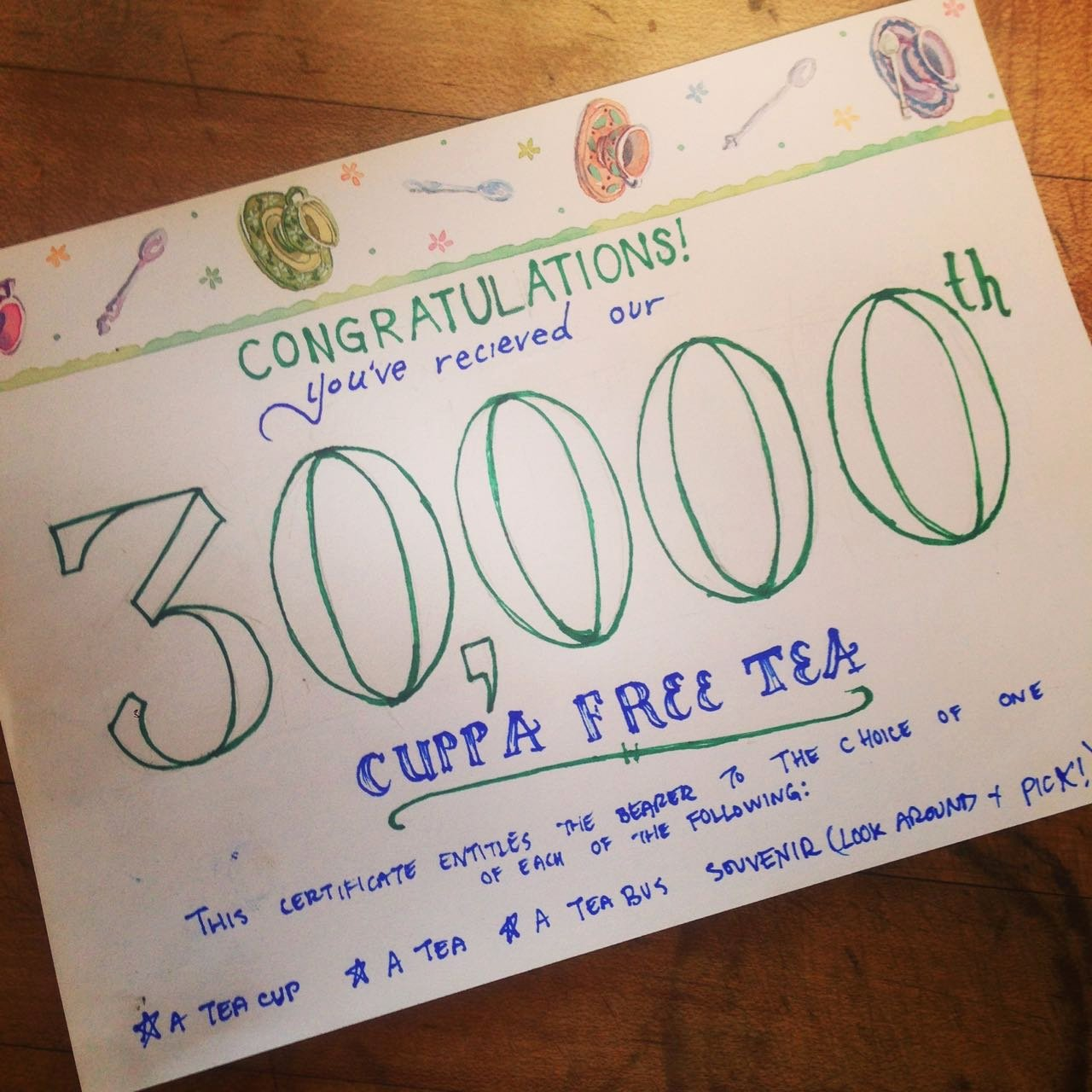 This Certificate Entitles the Bearer Elegant 30 000th Cuppa Free Tea – Tuscaloosa Al