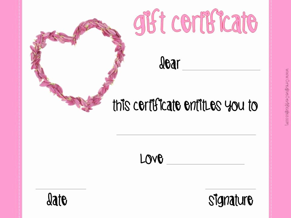 This Certificate Entitles the Bearer Inspirational Free Valentines Day Printables