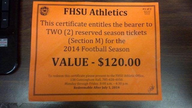 This Certificate Entitles the Bearer Luxury 2014 Fhsu Football Season Tickets Nex Tech Classifieds