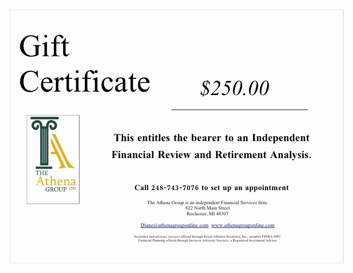 This Certificate Entitles the Bearer Luxury athena Gift Certficate