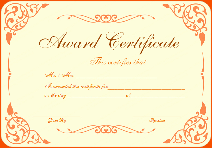 This Certificate is Awarded to Beautiful 8 Awards Certificate Template Bookletemplate