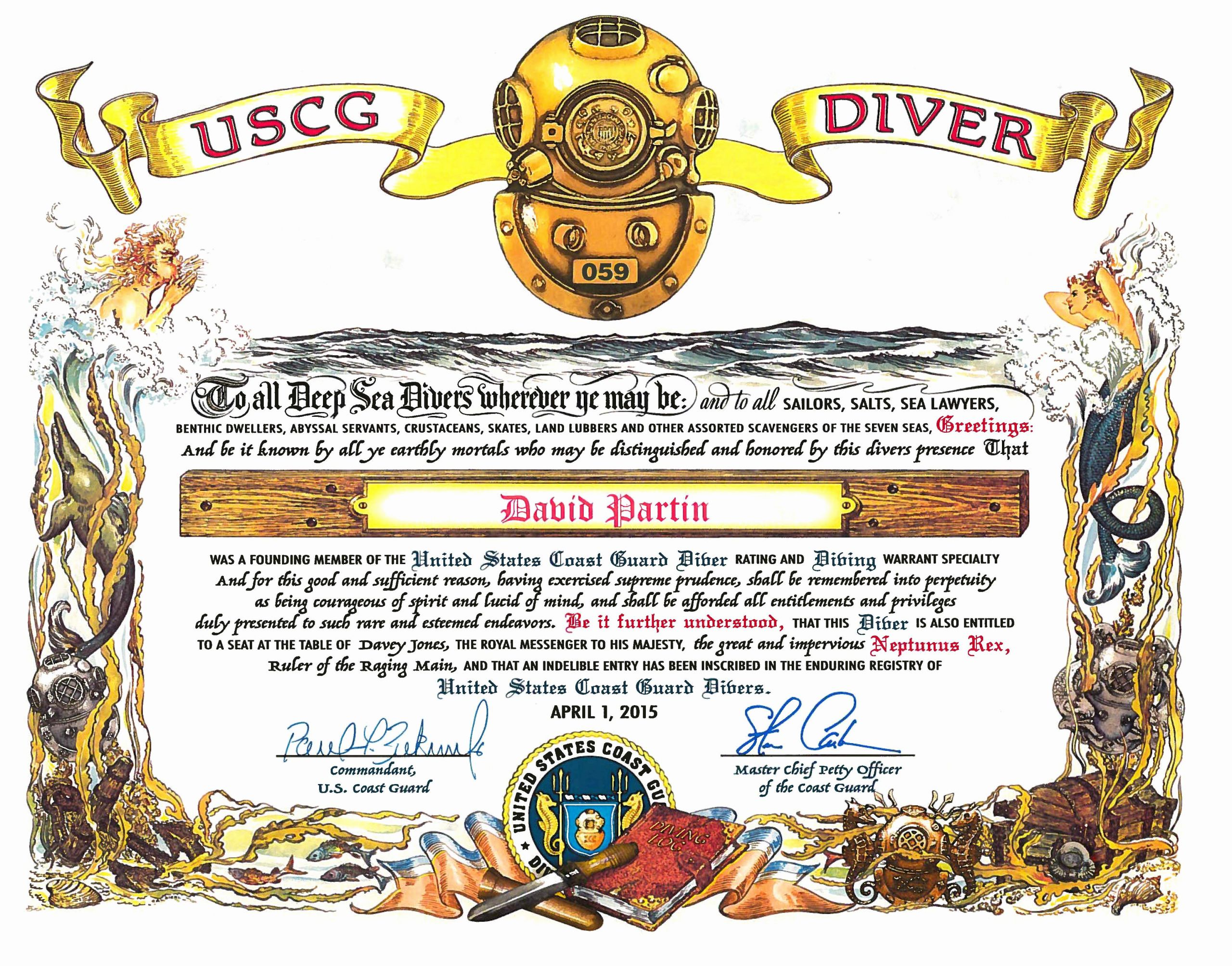 This Certificate is Awarded to Elegant Coast Guard Stands Up New Diver Rating Coast Guard All