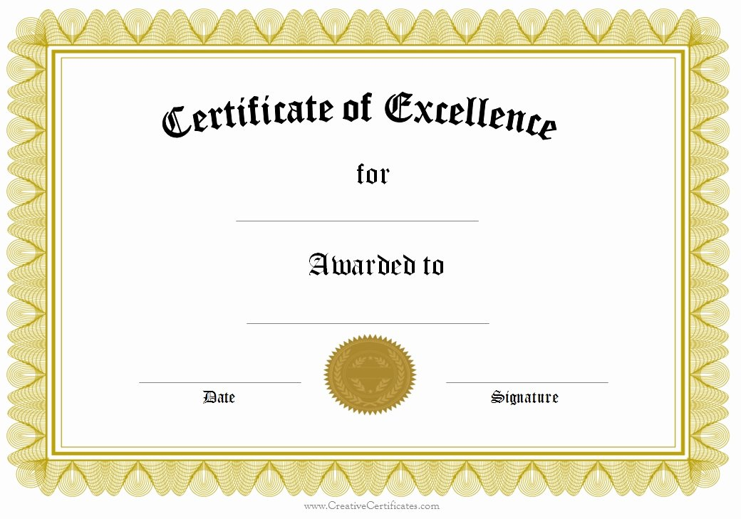 This Certificate is Awarded to Elegant Epic Certificate Of Excellence Template Example with
