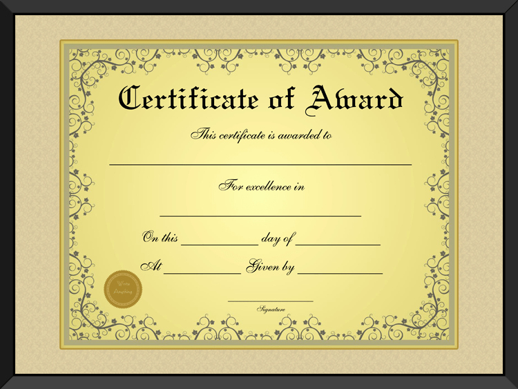 This Certificate is Awarded to Fresh Free Golden formal Award Certificate Template